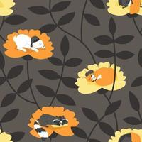 Seamless pattern with sleeping animals on a dark background vector