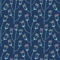Patrón sin fisuras de flores de cardo en un tallo sobre un fondo oscuro vector