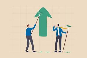 Business profit growth, improvement or career development, investment earning rising up or partnership to help grow business concept, businessman partner help painting growth green arrow graph. vector