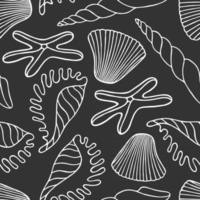 Grey seamless background with silhouettes of ocean shells and starfish vector