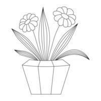 Manzanilla pintada en una olla sobre un fondo blanco. vector