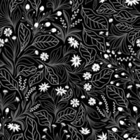 Black seamless background with white flowers and gray leaves vector