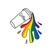LGBTQ rainbow coffee cup on a white background in vector