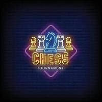 Chess Tournament Neon Sign Style Text vector