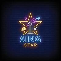 Sing Star Neon Signs Style Text Vector