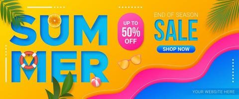 Colorful summer sale banner promotion template vector