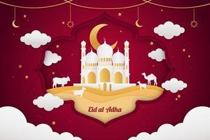 Realistic Eid al adha mubarak paper art red style background vector