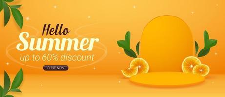 Horizontal summer banner promotion template with product display vector