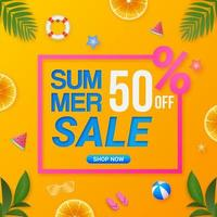 Colorful summer sale square banner promotion template vector