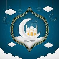 Realistic Eid al adha mubarak blue background vector