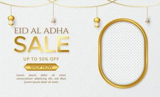 Eid al adha mubarak sale promotion background with gold color vector