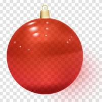 Red realistic Christmas glass ball with shadows vector