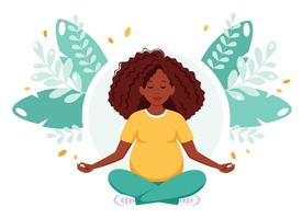 Pregnant african american woman meditating in lotus pose. Pregnancy health concept. vector