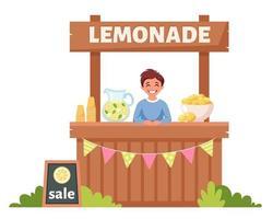 niño vendiendo limonada fría en puesto de limonada. bebida fría de verano. vector