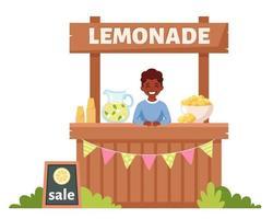 Muchacho afroamericano vendiendo limonada fría en puesto de limonada. bebida fría de verano. vector