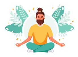 Man meditating in lotus pose. Healthy lifestyle, relax, meditation. vector