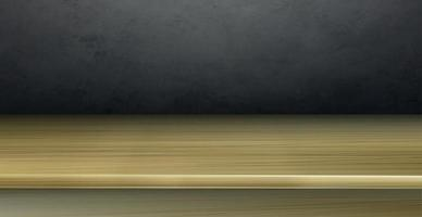 Realistic yellow wood table top on gray background - Vector