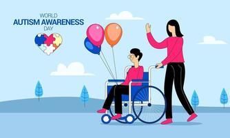 vector de concepto de ilustración del día mundial de la conciencia del autismo