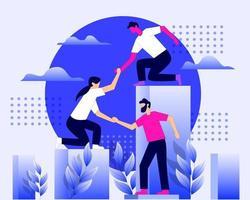 trabajador ayudándose unos a otros para el vector de concepto de ilustración de grupo empresarial