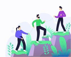Worker helping each other for business group illustration concept vector