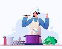Woman preparing healthy food illustration concept vector