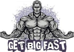 motivational t shirt design with bodybuilder vector