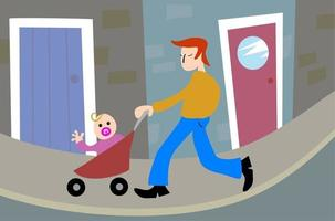 Father and Baby Together vector