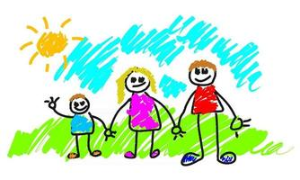 Happy Family Holding Hands vector