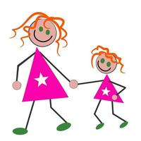 Mother and Daughter Together vector