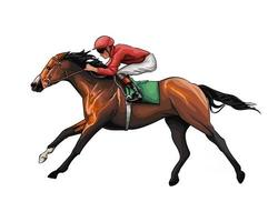 Horse racing with a jockey from splash of watercolors, colored drawing, realistic, Horseback riding. Vector illustration of paints