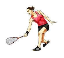 Abstract young woman does an exercise with a racket on her right hand in squash from splash of watercolors. Squash game training. Vector illustration of paints