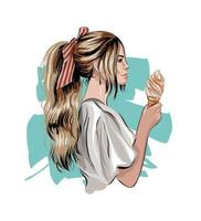 Beautiful young woman with ice cream, colored drawing, realistic. Vector illustration of paints