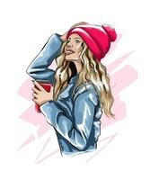 Beautiful young woman with plastic coffee cup in her hand. Stylish girl, colored drawing, realistic. Vector illustration of paints