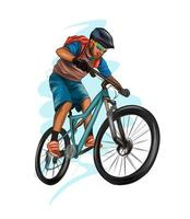 Abstract cyclist on a race track from splash of watercolors, colored drawing, realistic, athlete on a bike. Vector illustration of paints