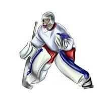 Abstract hockey goalkeeper from splash of watercolors, colored drawing, realistic. Winter sport. Vector illustration of paints