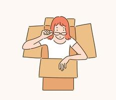 A woman comes out of the box. hand drawn style vector design illustrations.
