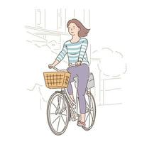 A woman is riding a bicycle with a basket. hand drawn style vector design illustrations.