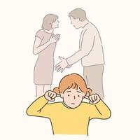 The father is arguing with the mother and the child is covering his ears with a sad expression. hand drawn style vector design illustrations.