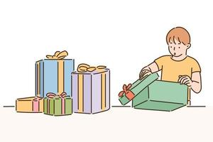 A cute boy is opening a gift box. hand drawn style vector design illustrations.