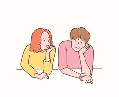 Two friends are sitting with their chins crossed. hand drawn style vector design illustrations.