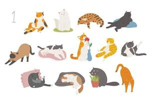 Cute and funny cats of various breeds. hand drawn style vector design illustrations.