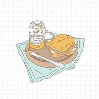 Bread with peanut jam. hand drawn style vector design illustrations.