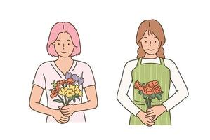 A flower shop employee is holding a bouquet of flowers. hand drawn style vector design illustrations.