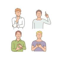 Men doing various hand gestures. hand drawn style vector design illustrations.