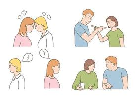 People angry and arguing with each other. hand drawn style vector design illustrations.