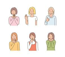 Women making various hand gestures. hand drawn style vector design illustrations.
