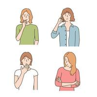 A female character with a sensitive and nervous expression. hand drawn style vector design illustrations.
