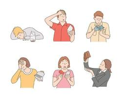 Sad people looking at empty wallets. hand drawn style vector design illustrations.