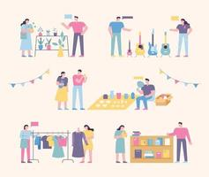 Flea market place. People who sell and people who buy second-hand goods. flat design style minimal vector illustration.