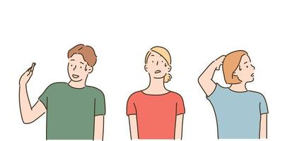 Man and woman making a gesture of rejection. hand drawn style vector design illustrations.